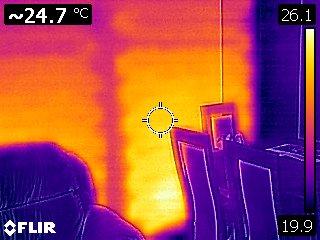 Ogrzewanie ścienne - widok z kamery termowizyjnej